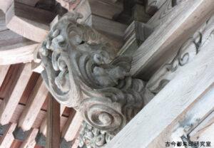 本宮裏ウサギの彫刻