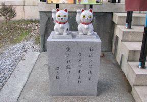 拝殿前の招き猫